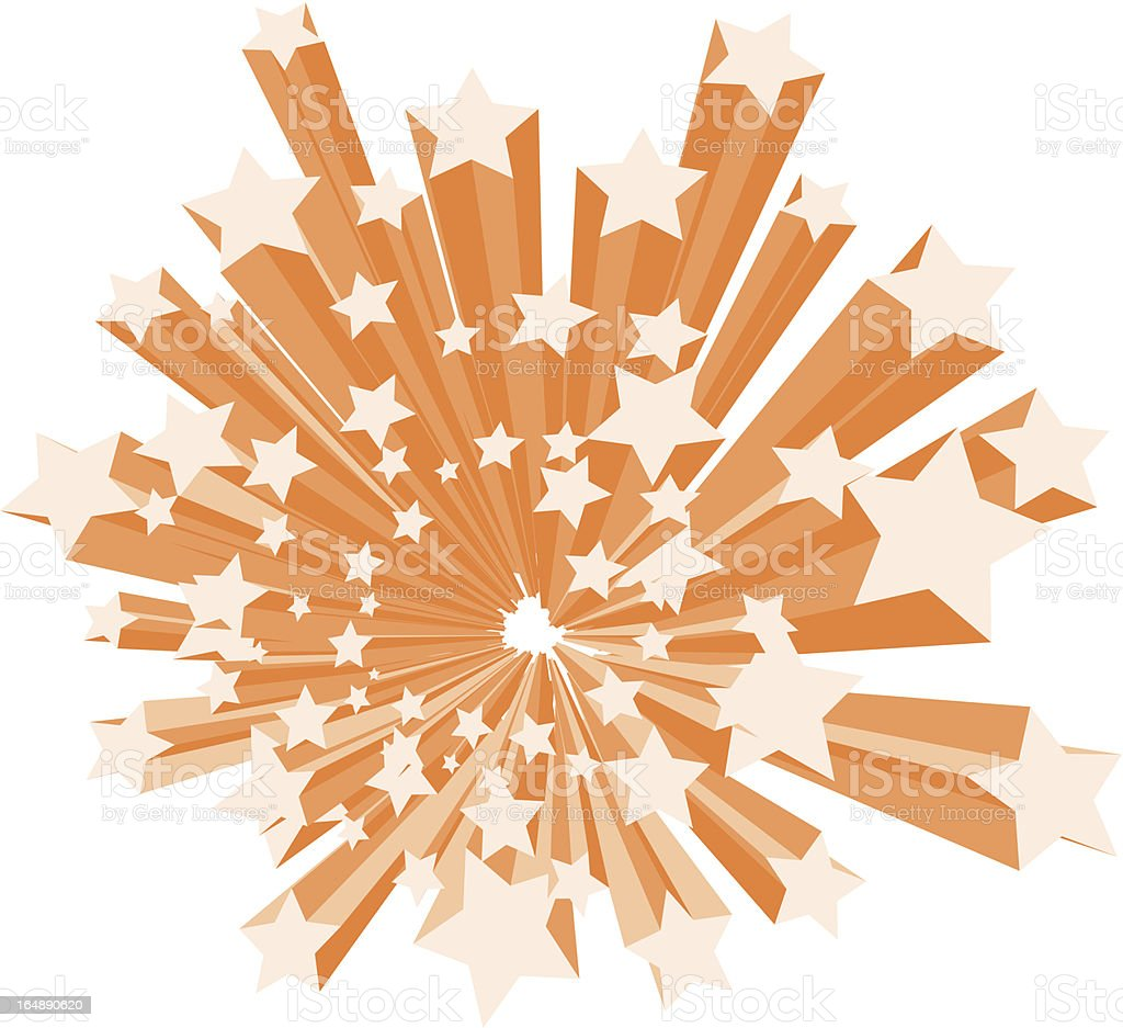 A lot of orange stars exploding with white background royalty-free stock vector art