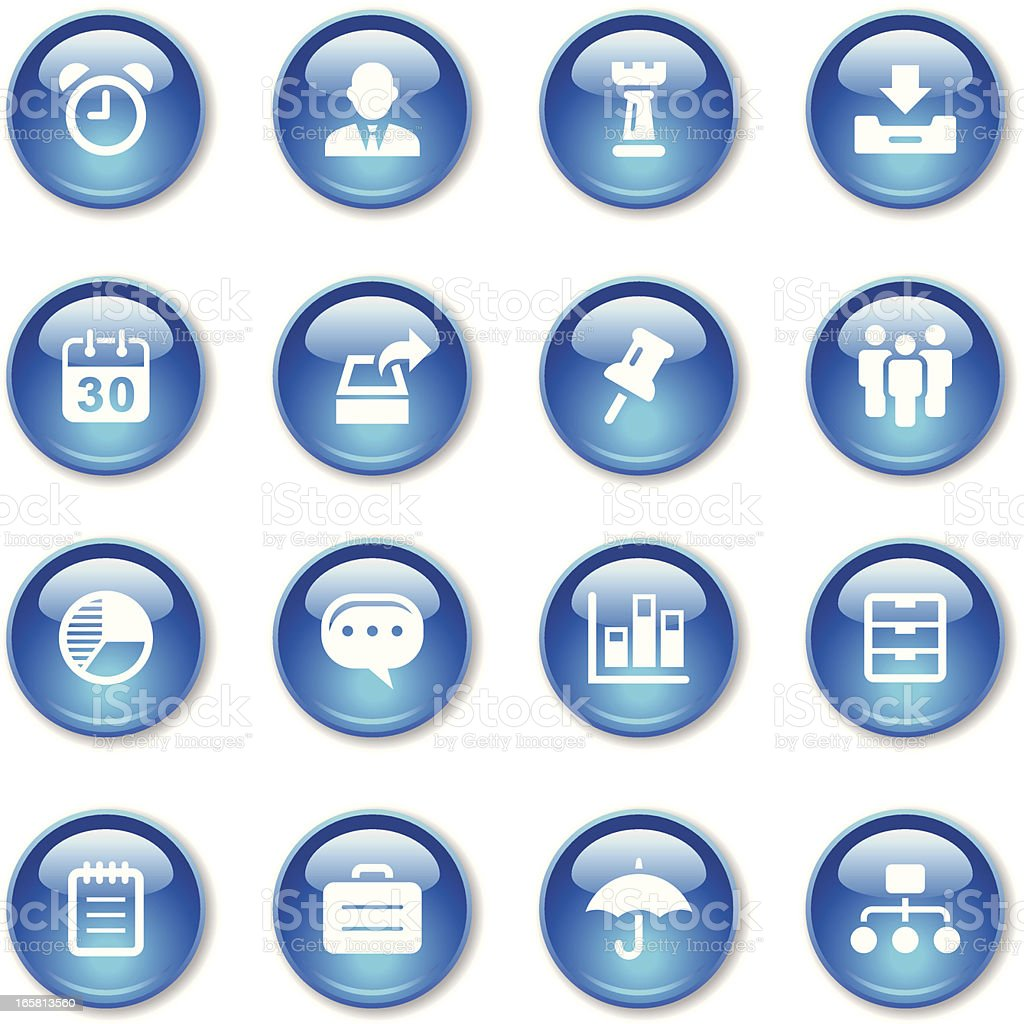 Lots of blue business icons set royalty-free stock vector art