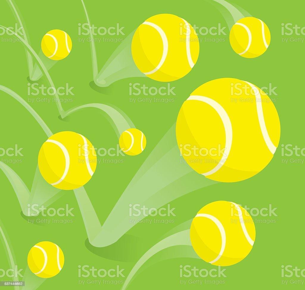 Lots of tennis balls bouncing vector art illustration
