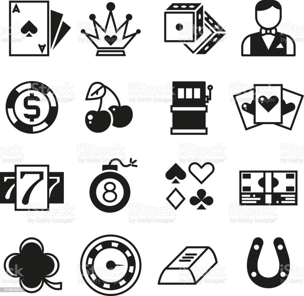 Lottery, roulette, casino, slot machine, gambling vector icons vector art illustration