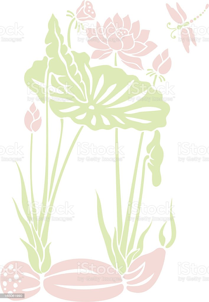 Lotus and Dragonfly royalty-free stock vector art