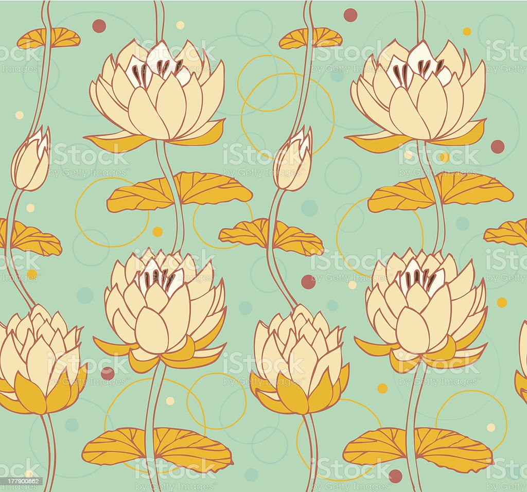 Lotus background. Floral pattern with water lilies royalty-free stock vector art