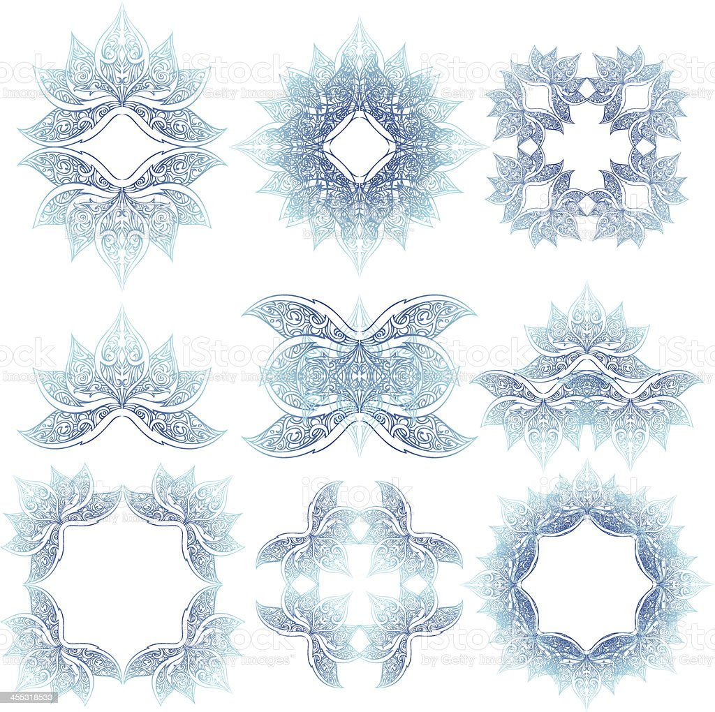 lotus crown elements royalty-free stock vector art
