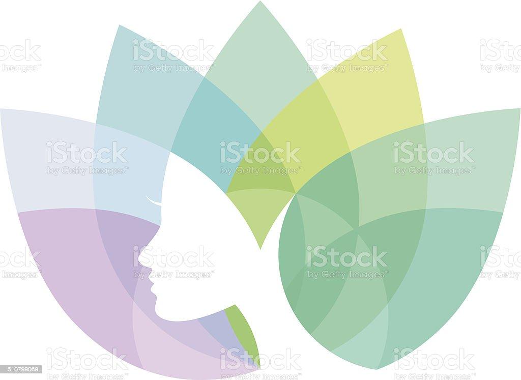Lotus & Female Head Symbol vector art illustration