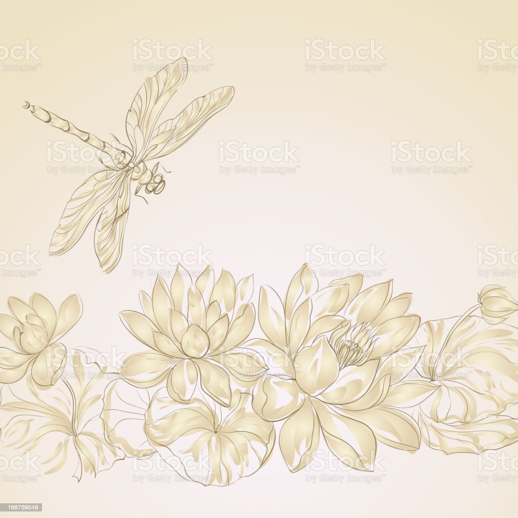 Lotus flower and dragonfly vector art illustration