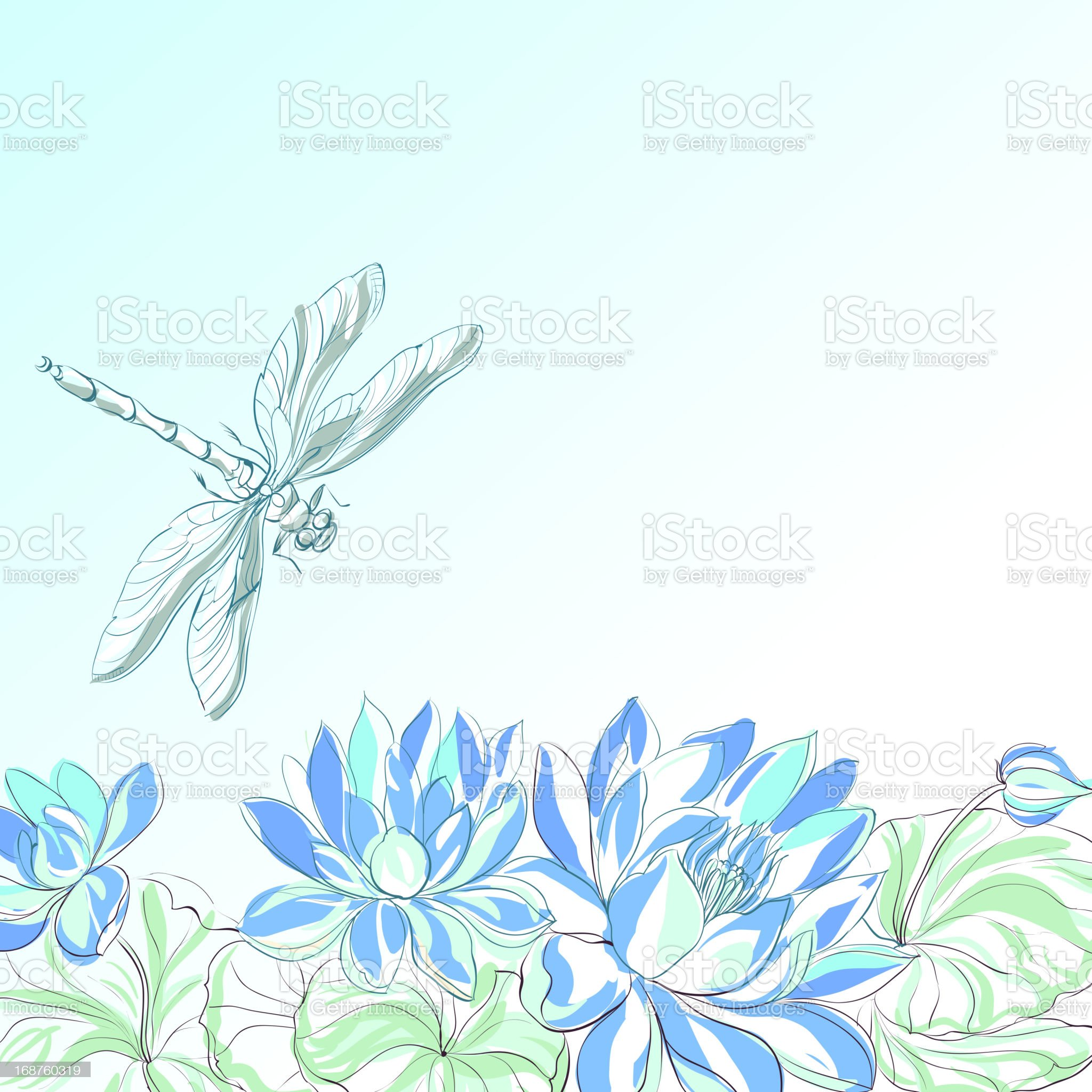 Lotus flower and dragonfly. royalty-free stock vector art