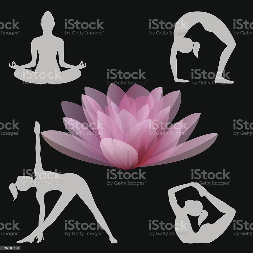 Lotus flower and yoga positions illustration vector art illustration