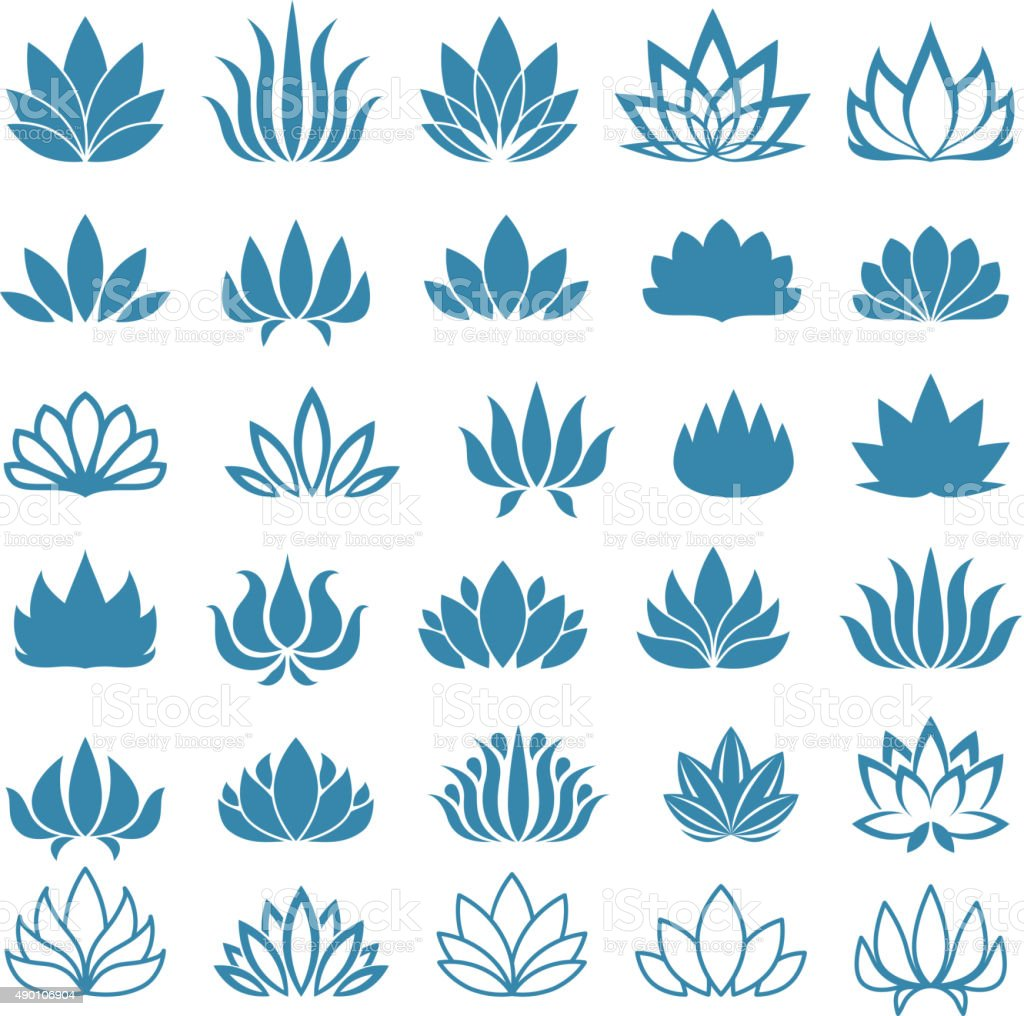 Lotus flower assorted icons set vector art illustration