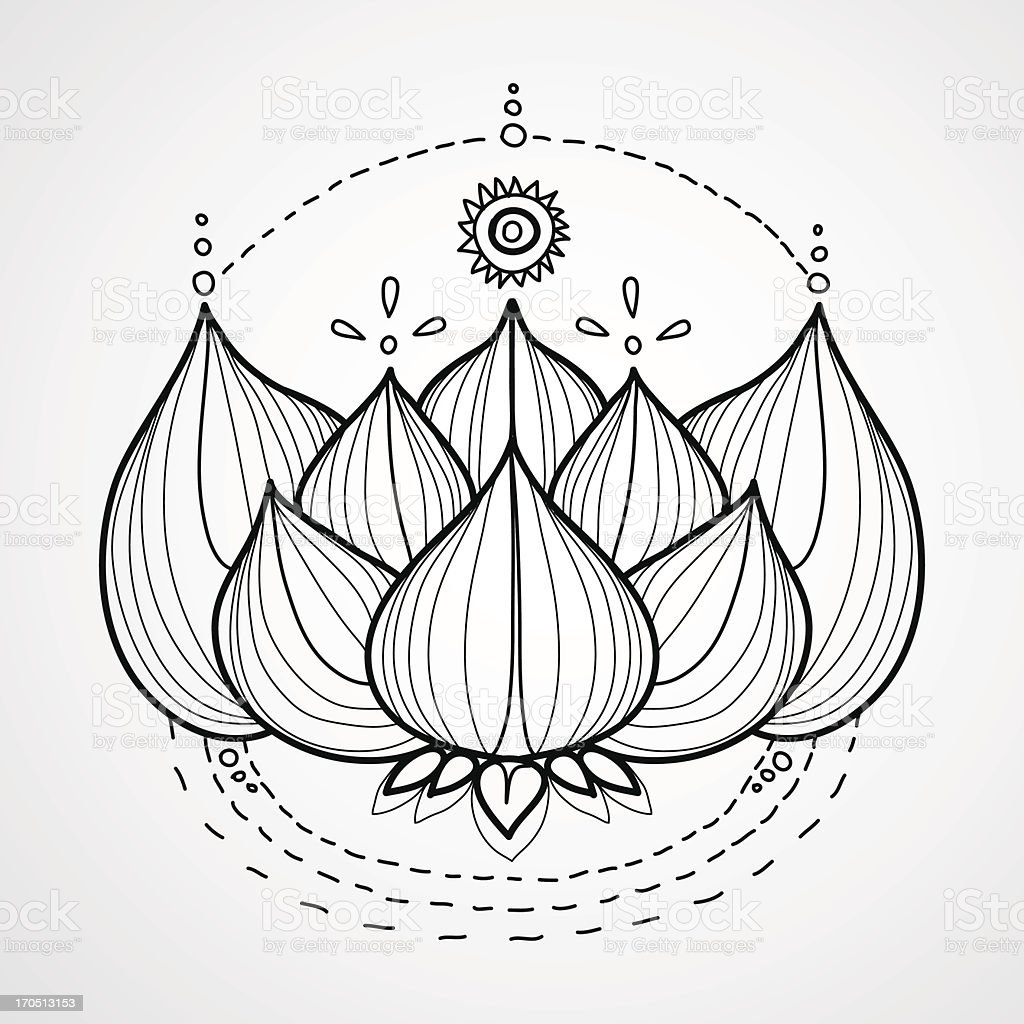 Lotus flower. Black and white vector background. royalty-free stock vector art