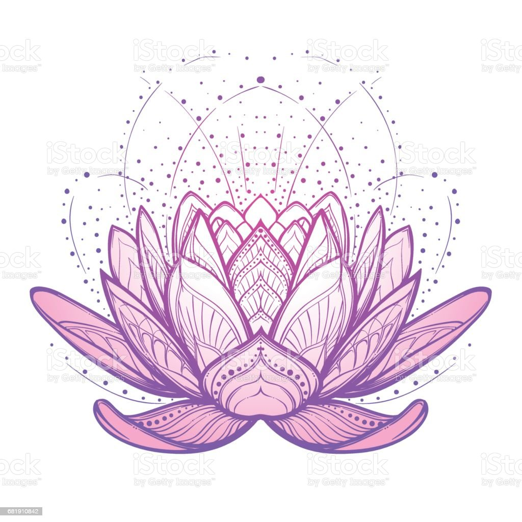 Lotus flower. Intricate stylized linear drawing isolated on white background. vector art illustration