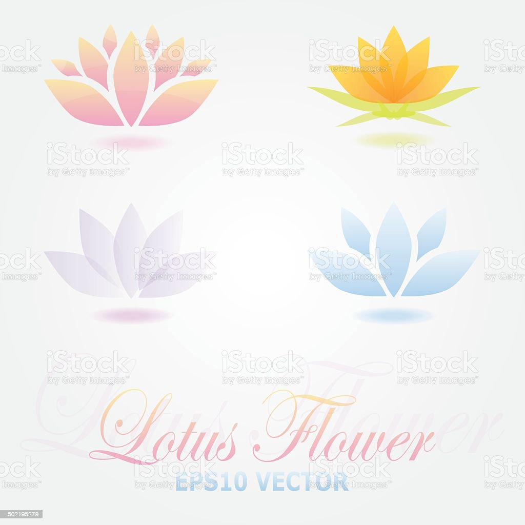 Lotus flower logo spa set vector art illustration