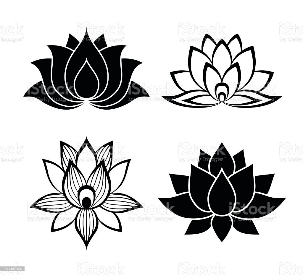 Lotus flower signs set vector art illustration