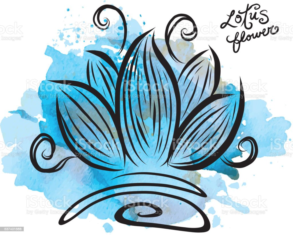 Lotus flower with watercolor texture vector art illustration