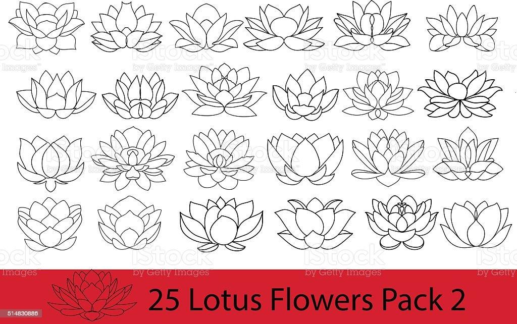 Lotus flowers black and white silhouette, modern flat icons. vector art illustration