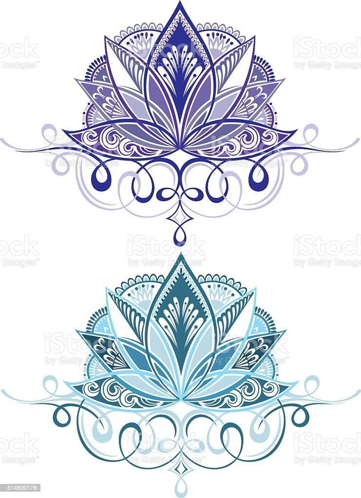 Lotus flowers vector art illustration