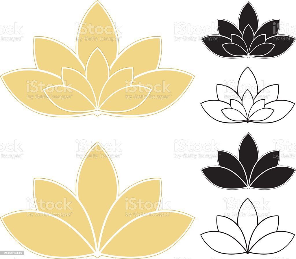 Lotus Flowers, Water Lilies Set (Gold, White, Black), and Icons vector art illustration