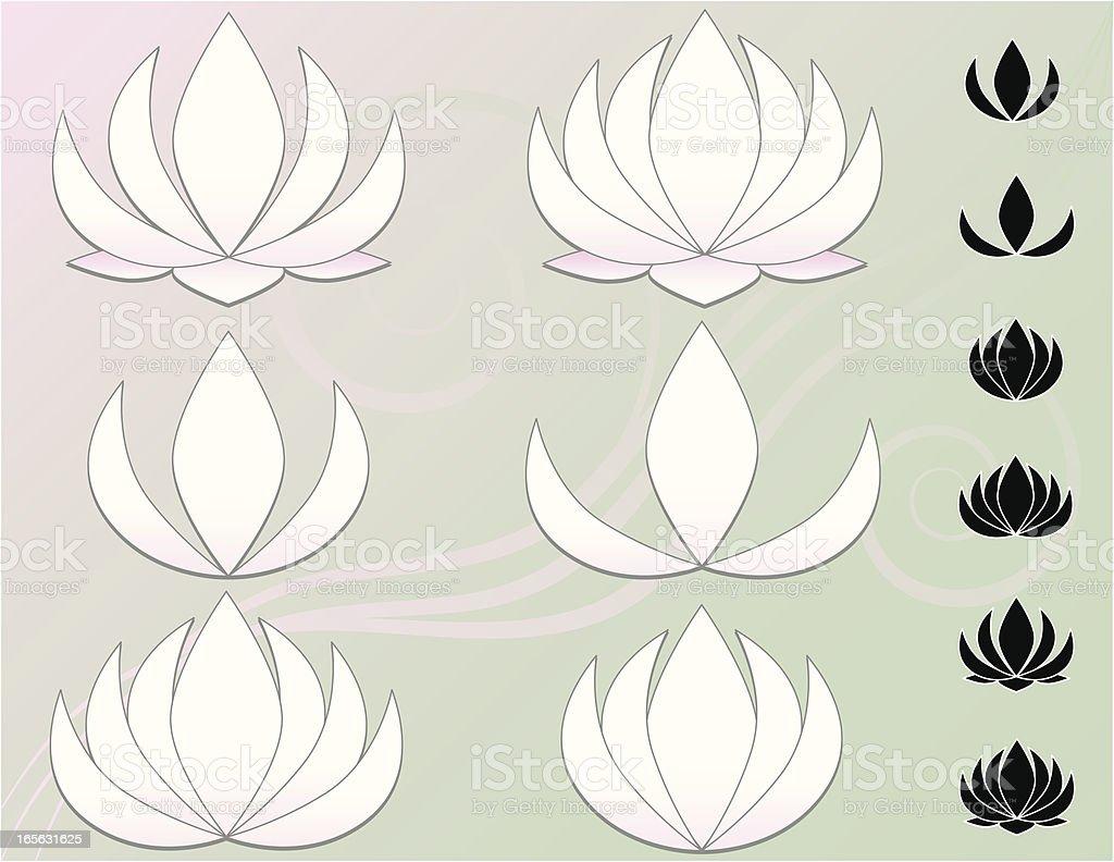 Lotus Blumen, Wasserlilien in mehrere Versionen, Symbole, Hintergründe Lizenzfreies vektor illustration