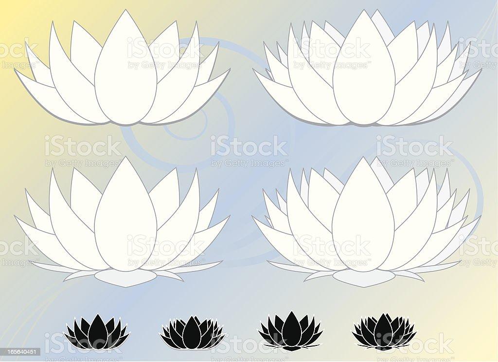 Lotus Blumen, Wasserlilien-Set (weiß) mit Symbol, Hintergrund Lizenzfreies vektor illustration