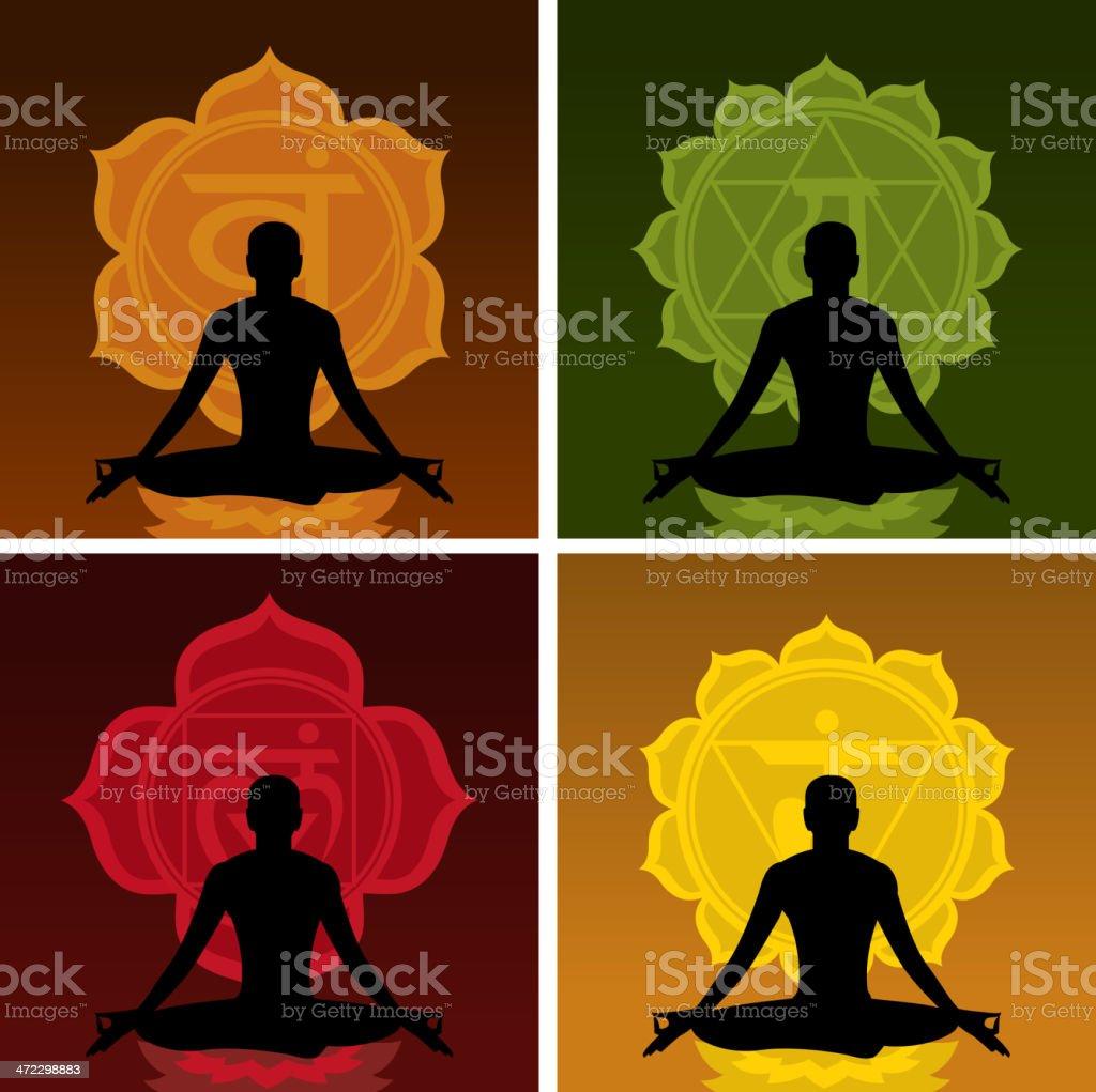 Lotus Meditating Posture Position with chakras Symbol royalty-free stock vector art