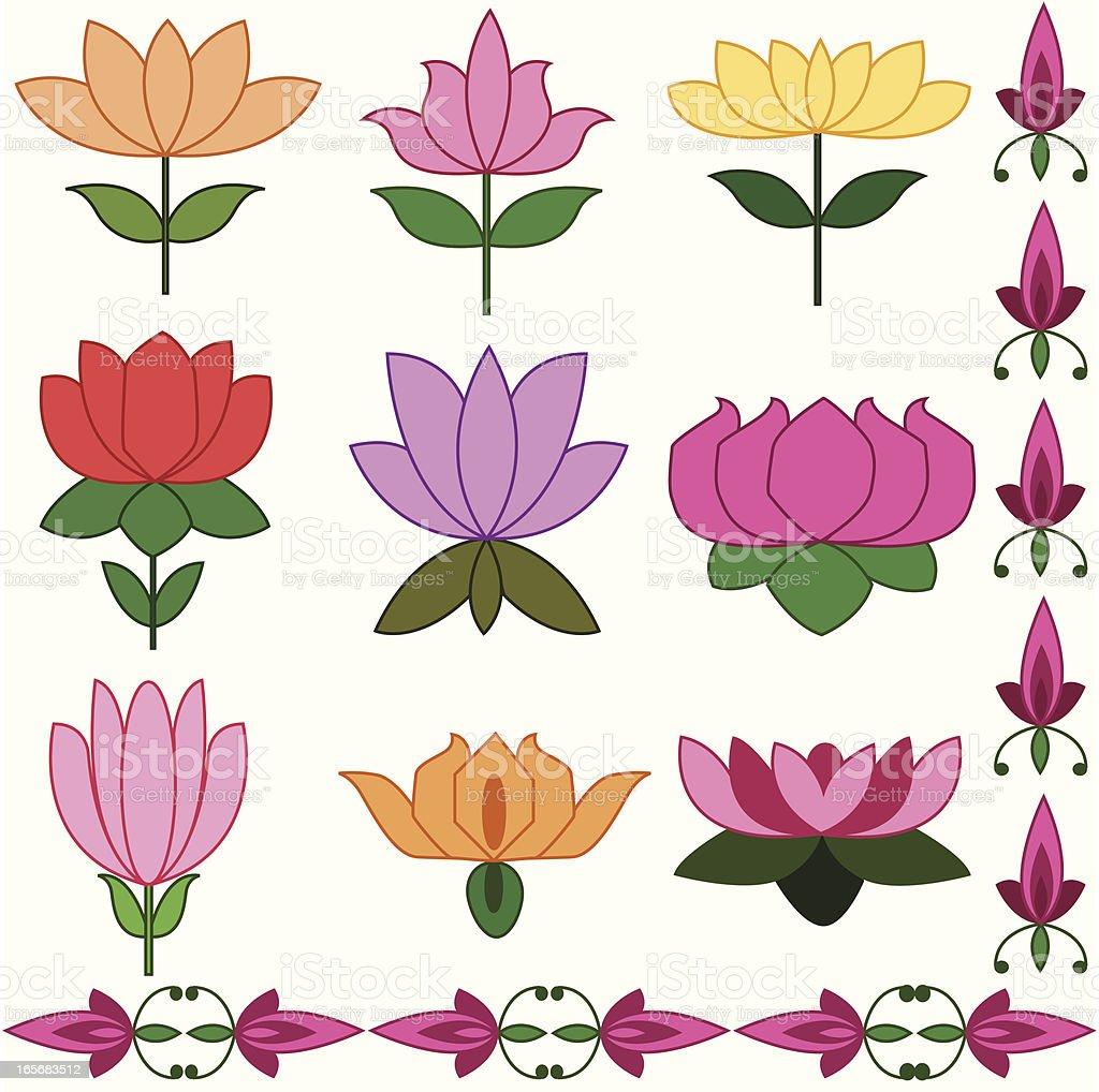 Lotus Rangoli  Set royalty-free stock vector art