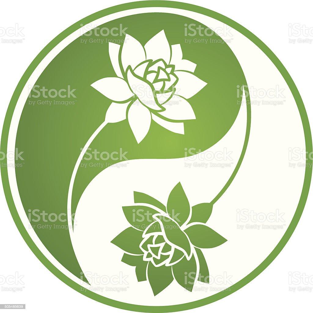 Lotus Yin Yang vector art illustration