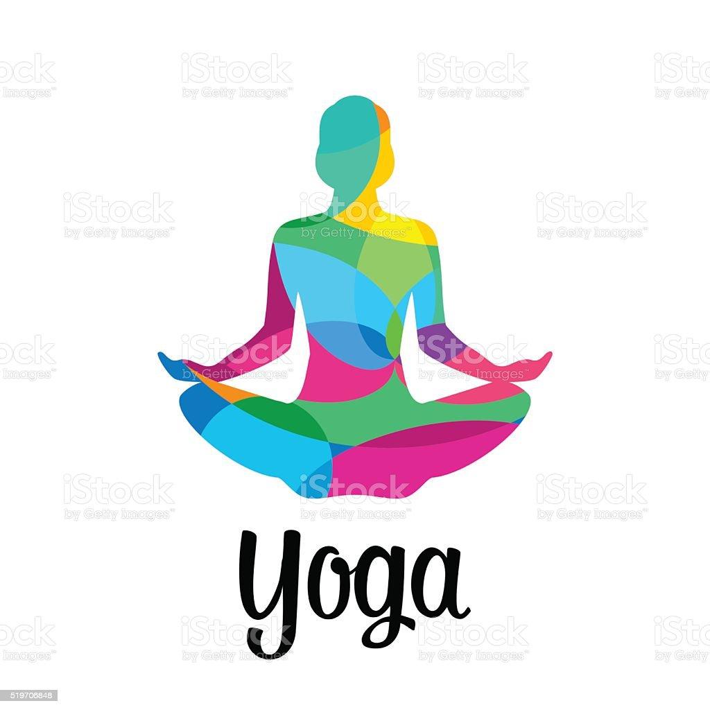Lotus yoga pose icon. Vector abstract vector art illustration