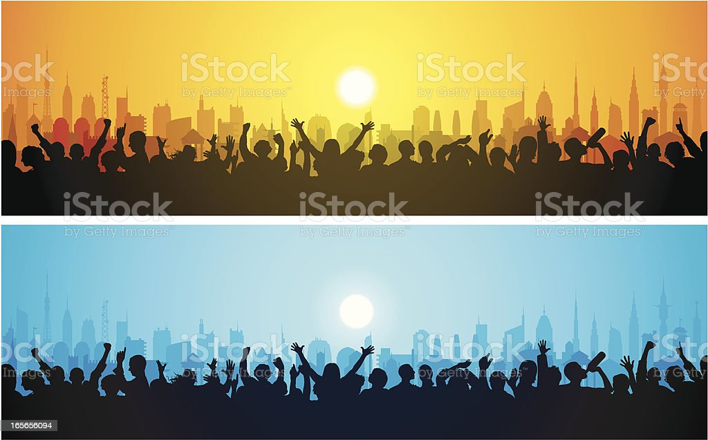 Loud Crowds and a City royalty-free stock vector art