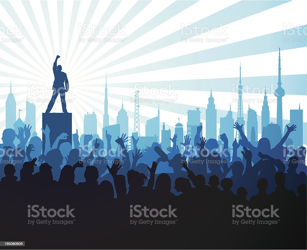 Loud Man and Crowd royalty-free stock vector art