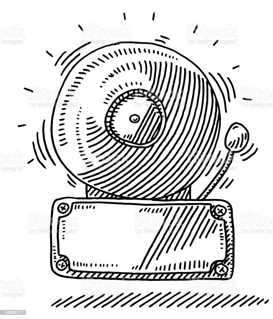 Loud Ringing Fire Alarm Bell Drawing vector art illustration