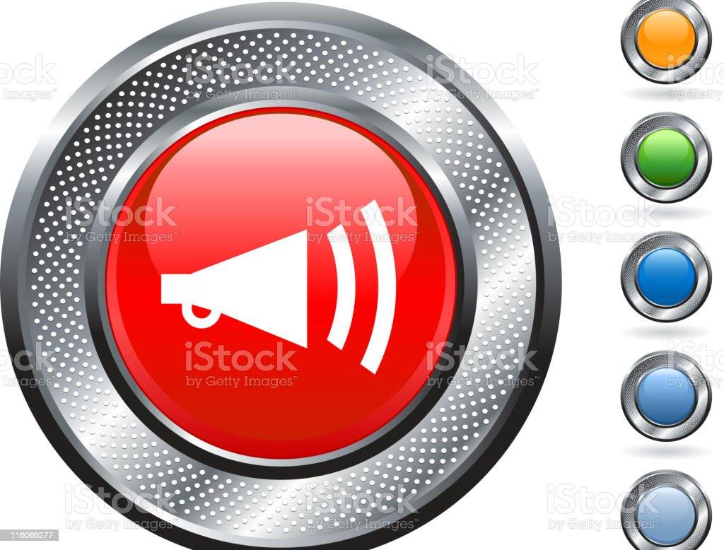 loud speaker royalty free vector art on metallic button royalty-free stock vector art