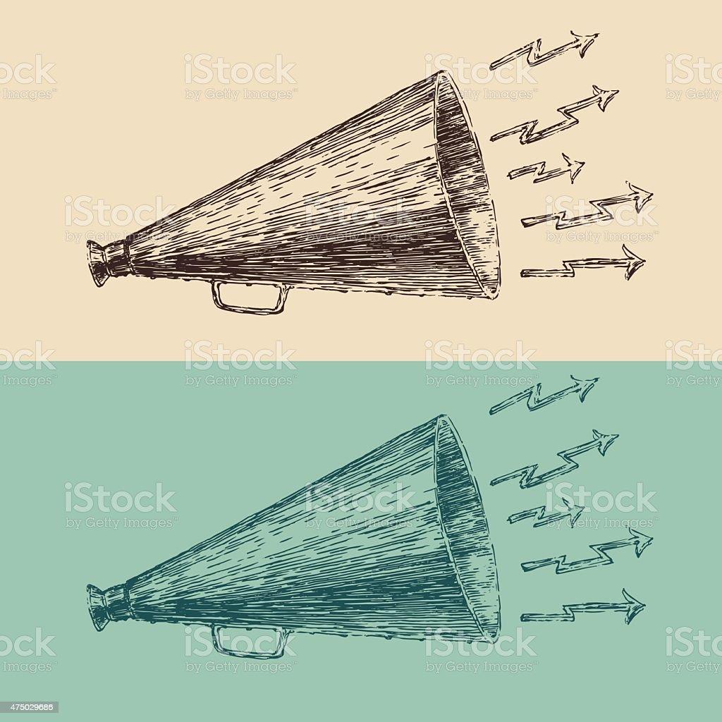 loudspeaker engraving style, hand drawn vector megaphone vector art illustration