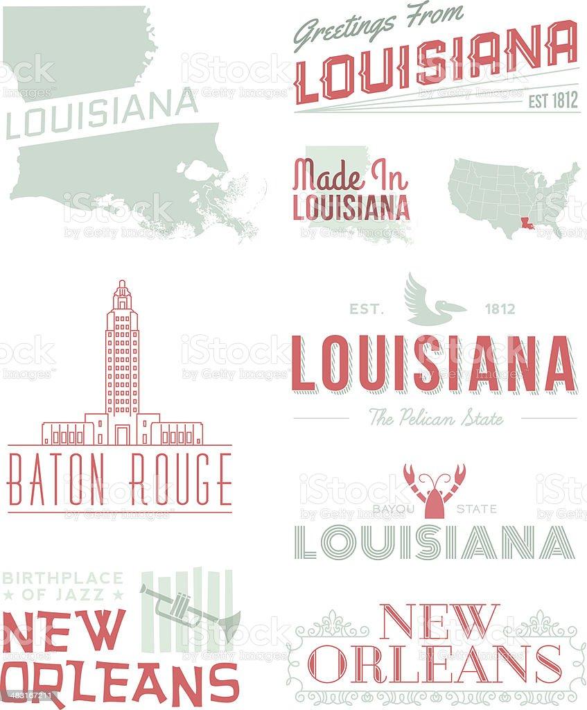 Louisana Typography vector art illustration