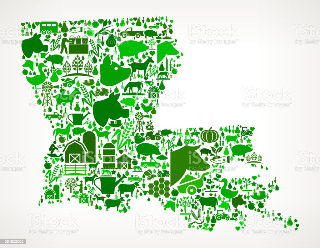 Louisiana Farming and Agriculture Green Icon Pattern vector art illustration