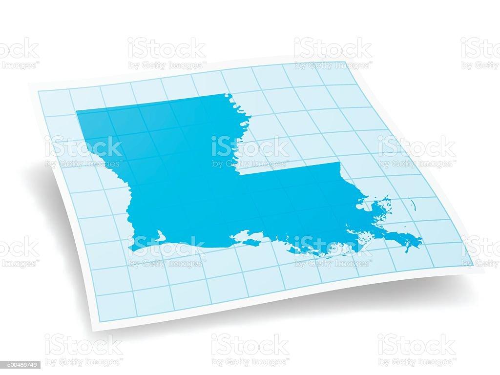 Louisiana Map isolated on white Background vector art illustration