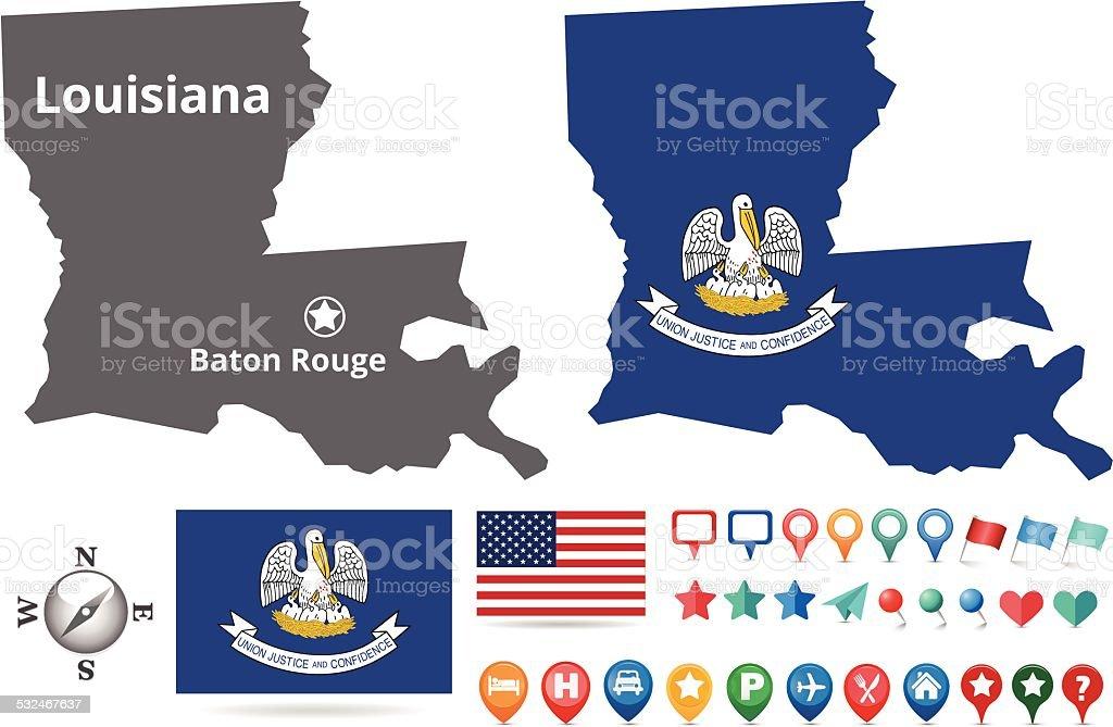 Louisiana Map Kit vector art illustration