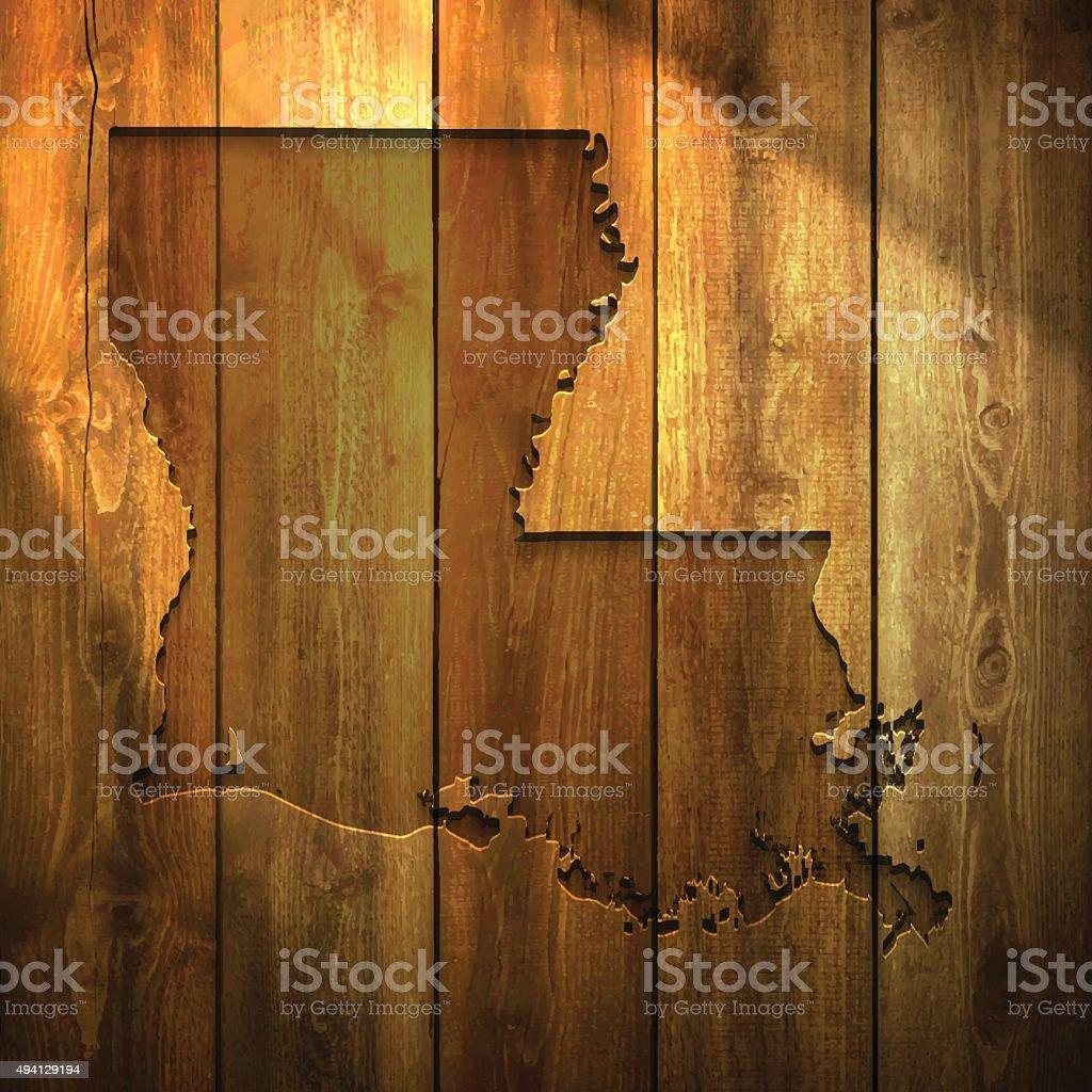 Louisiana Map on lit Wooden Background vector art illustration