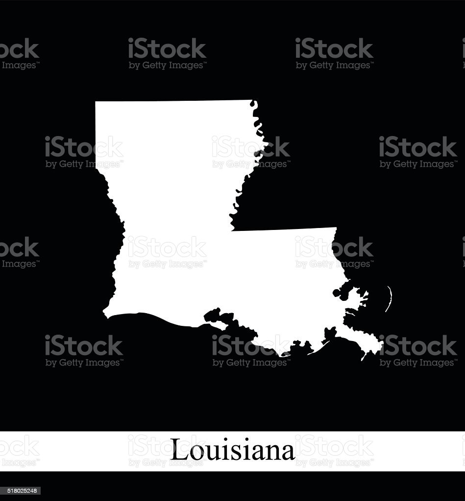 Louisiana map outline vector printable in black and white background vector art illustration
