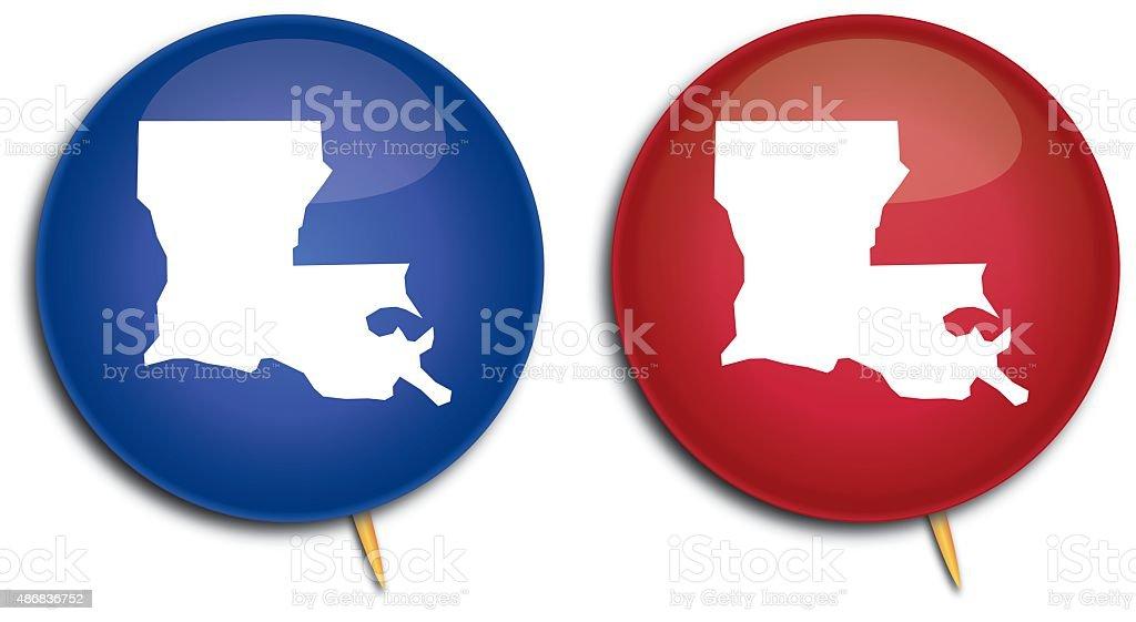 Louisiana Map Pins vector art illustration