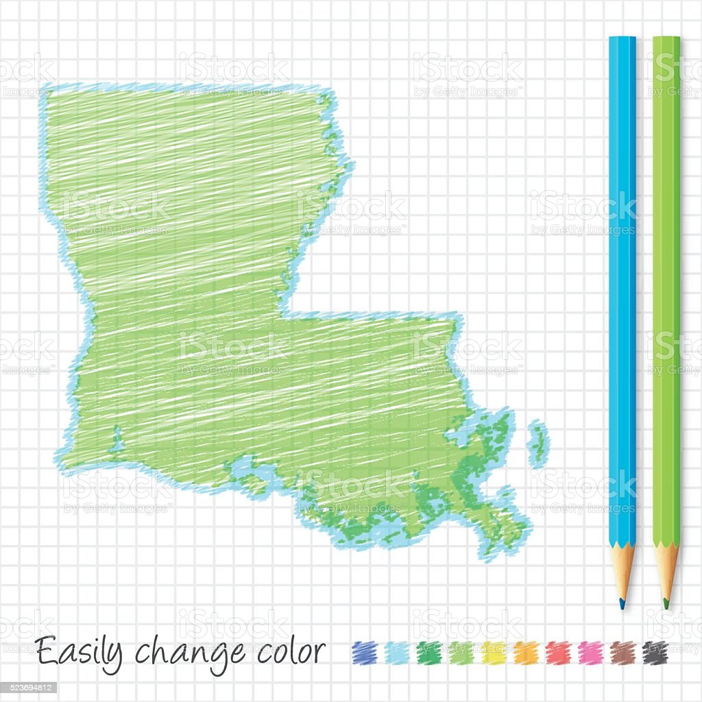 Louisiana map sketch with color pencils, on grid paper vector art illustration