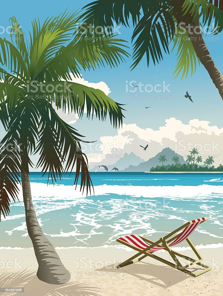 Lounge chair on the beach in a tropical paradise vector art illustration