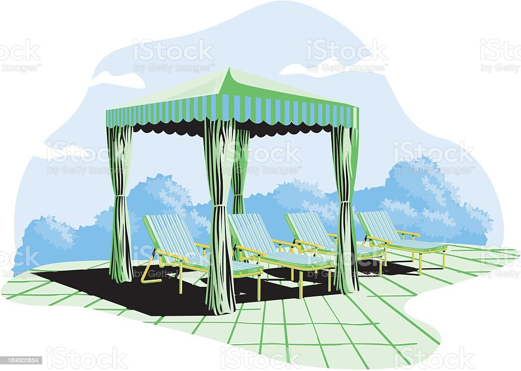 Lounge Chairs And Sun Shelter royalty-free stock vector art