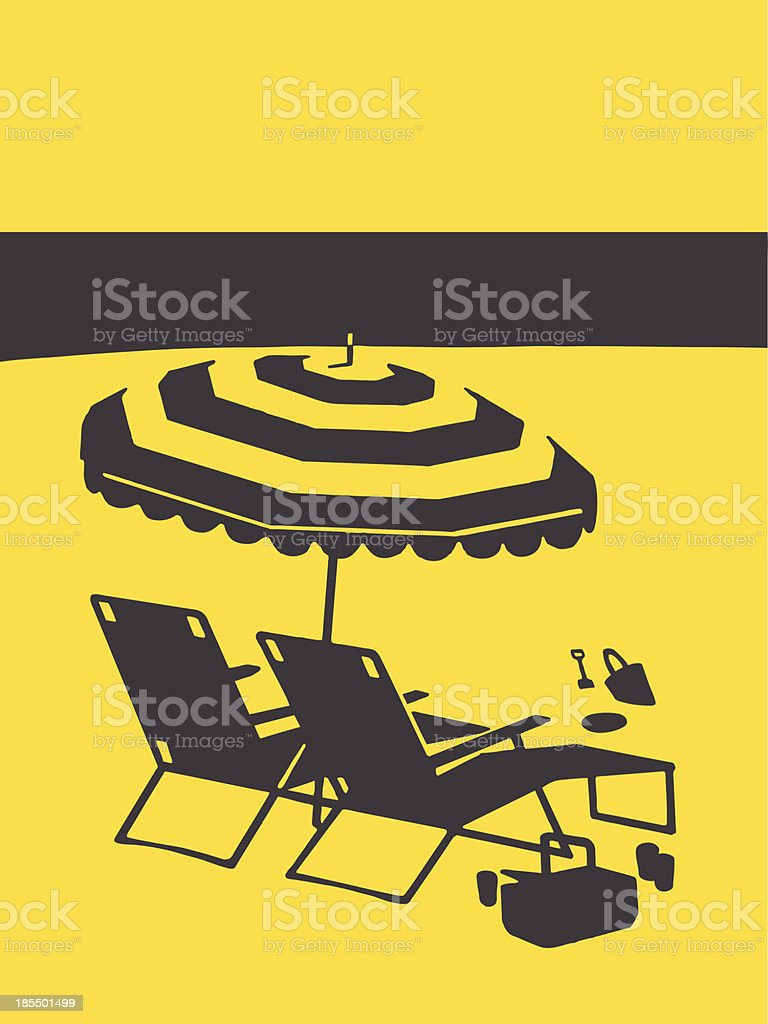 Lounge Chairs and Umbrella on the Beach royalty-free stock vector art