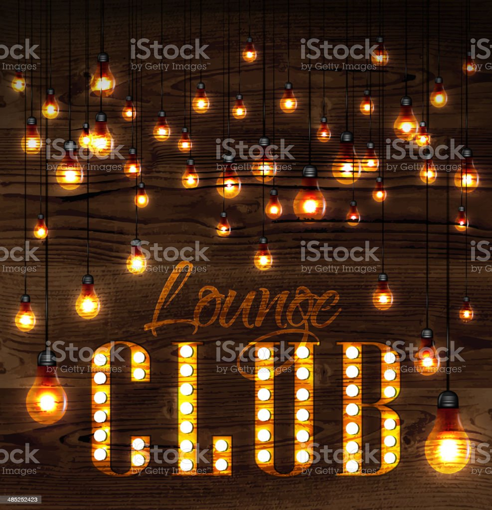 Lounge club glowing lights royalty-free stock vector art