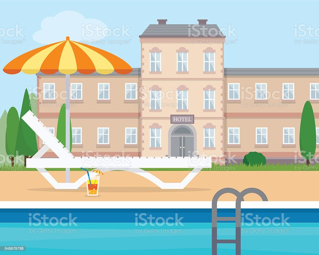Lounge near the pool vector art illustration
