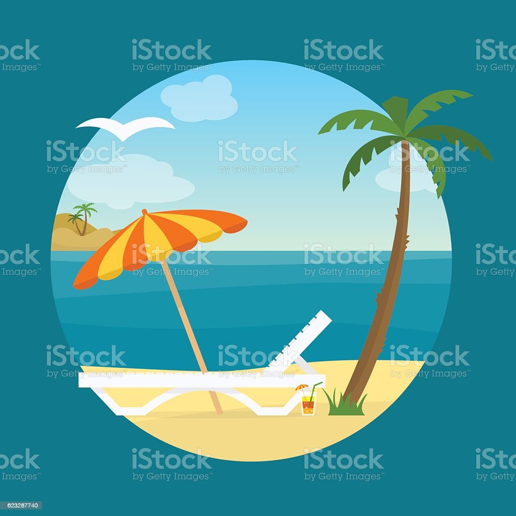 Lounge on the beach under a palm tree. vector art illustration