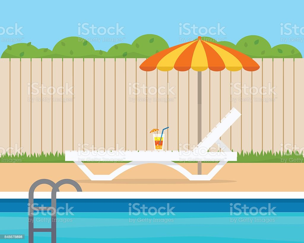 Lounge with umbrella near the pool vector art illustration