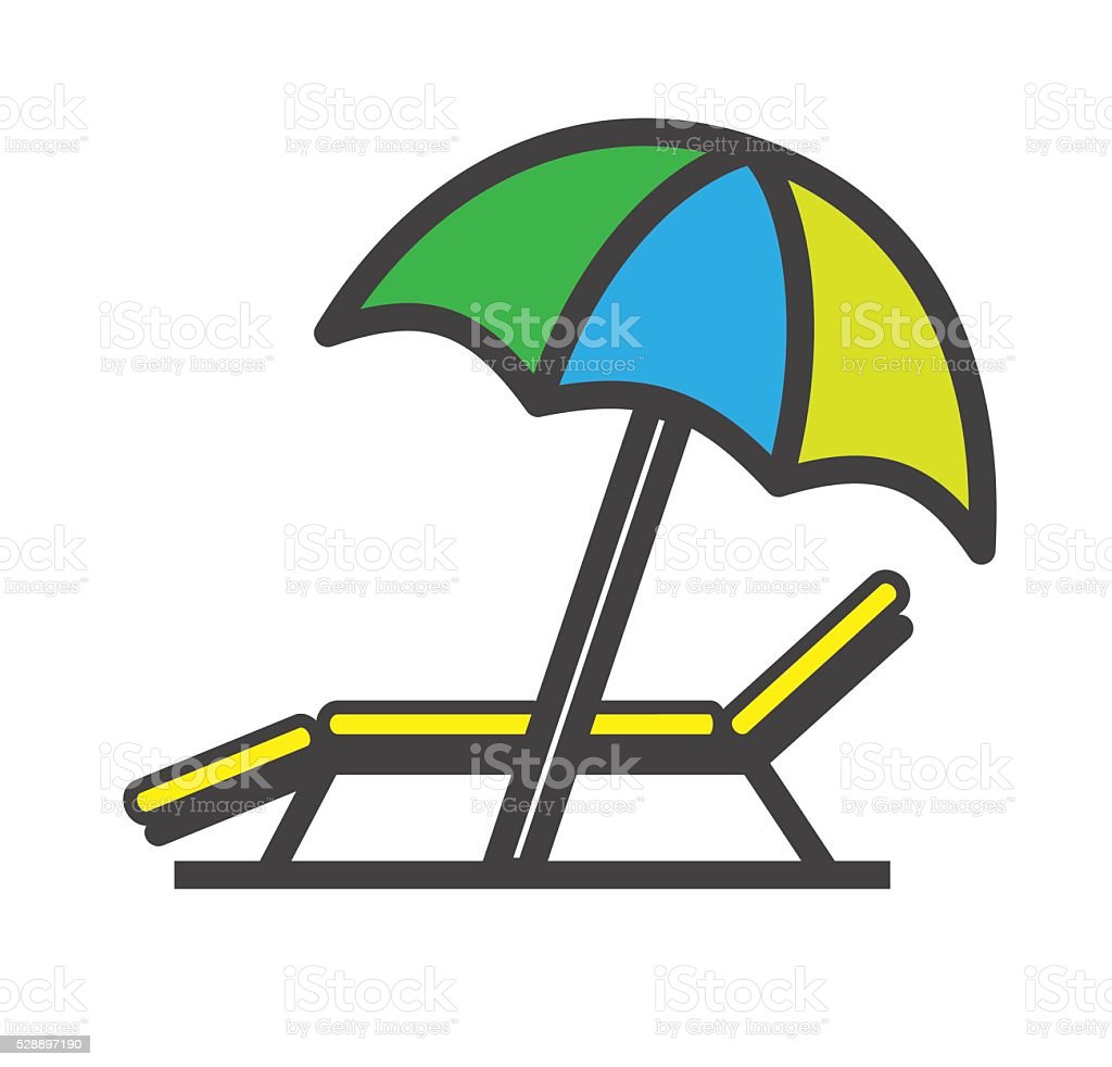 Lounger Beach Sunbed Chair flat icon, vector vector art illustration