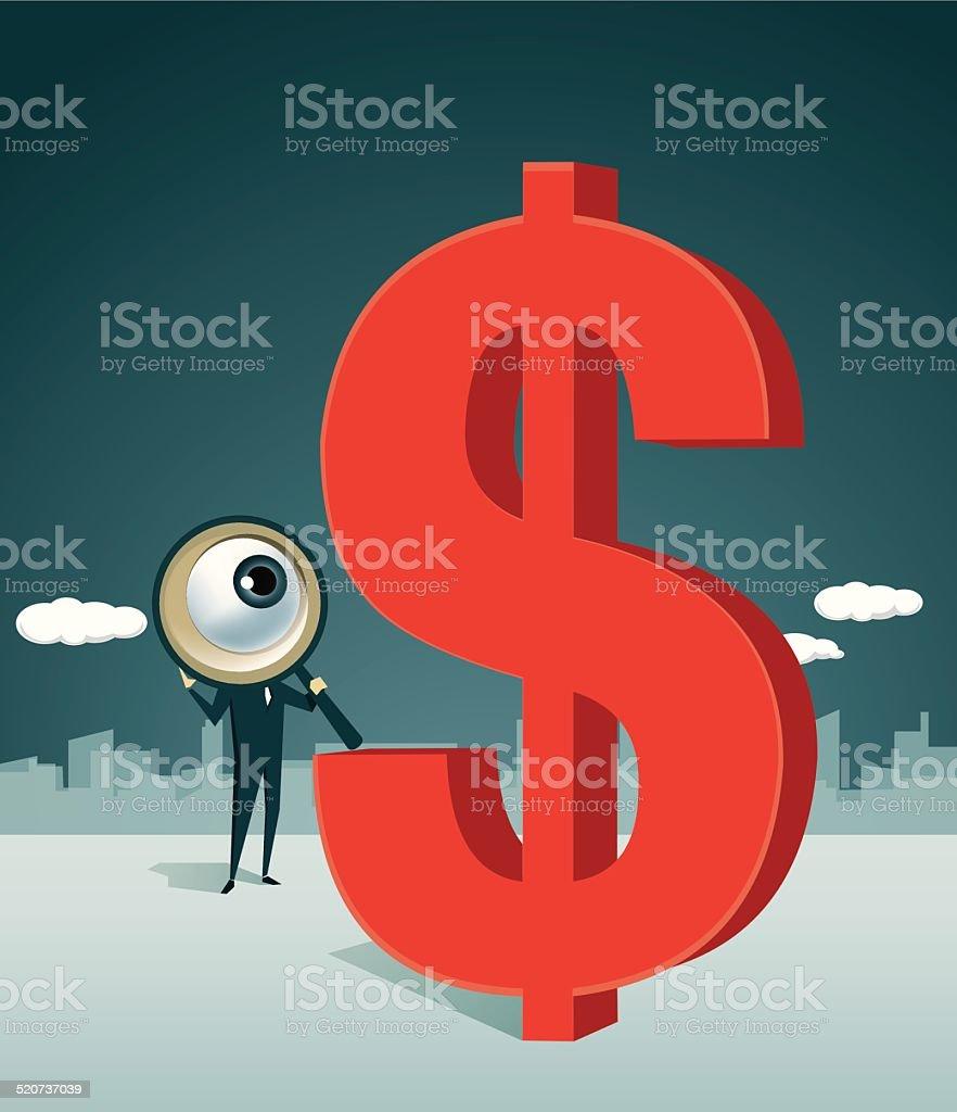 Loupe, Finance, Dollar vector art illustration