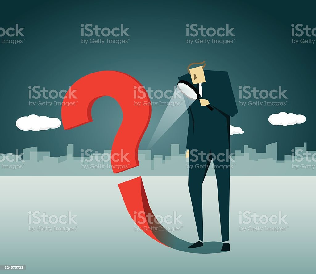 Loupe, Question Mark, Confusion, Shadow vector art illustration
