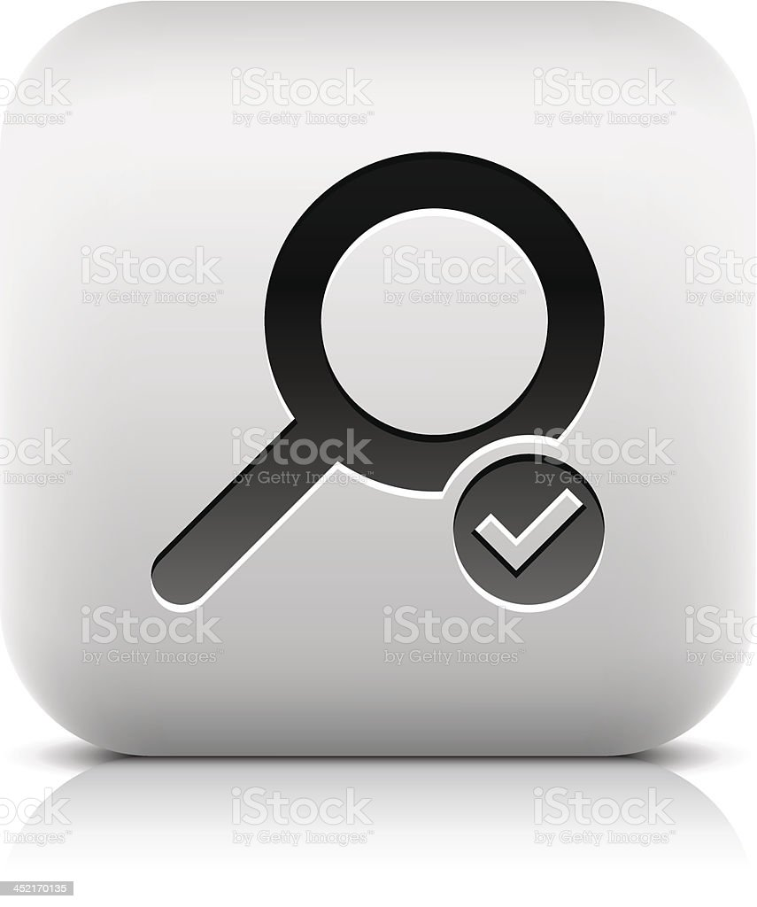Loupe sign with check mark pictogram square icon web button royalty-free stock vector art